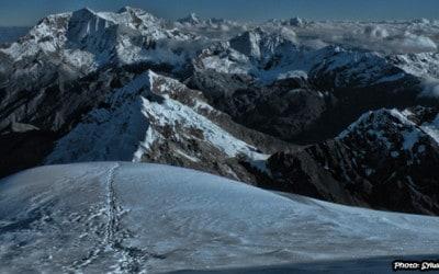 Climbing Tocllaraju mountain