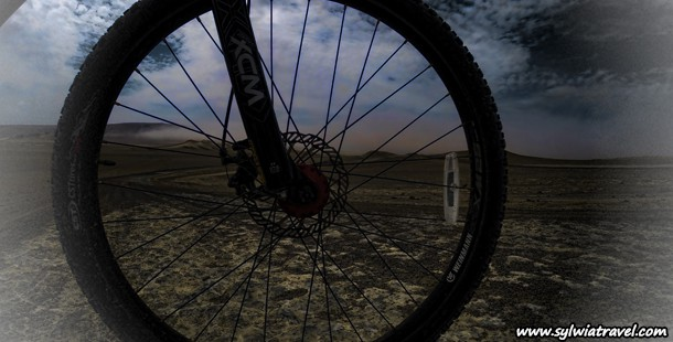 Bicycle trip through the desert Paracas National Reserve Peru. Video