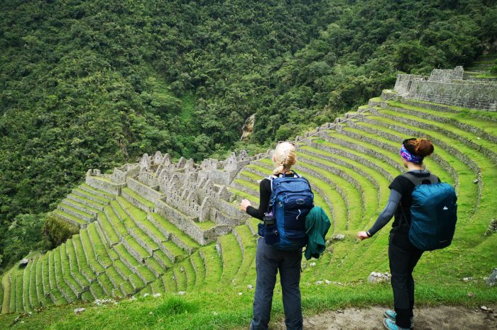 The most famous Inca Trail trekking to Machu Picchu with coffee plantation